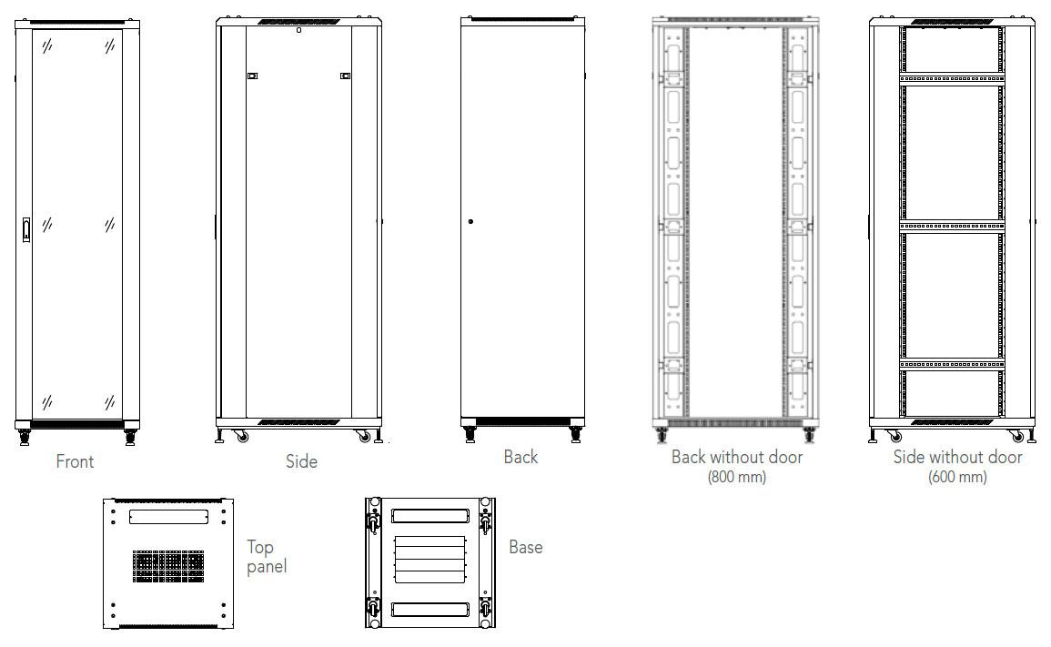 "Armario Rack 19"" 42U 800x800 WP - WPN-RNA-42808-BS"